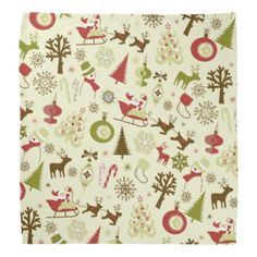 Retro Christmas Sketch Seamless Pattern - - -  A fun #retro #Christmas design in an #old-fashioned #sketch style in muted shades of #red, #green, and #brown; featuring #Santa Claus in his #sled, #reindeer, ornamented #Christmas #trees, #fir trees, #stockings, #candycanes, #ornaments, #snowmen, and more! - - -   There's all my other items at my Zazzle shop!  http://tinyurl.com/leo9be9