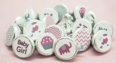 Sweet pink and gray elephant themed baby shower stickers for Hershey Kisses.