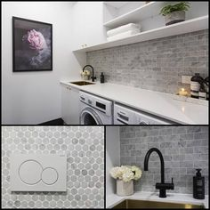 Oh girls those tiles! And we loved your artwork 'Enchanted Wall' (on pre-order at The Block Shop now). Laundry Nook, Small Laundry, Laundry In Bathroom, Unit Bathroom, Laundry Shelves, Interior Design Living Room, Living Room Designs, Laundry Room Inspiration, Laundry Room Design