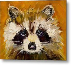 Woodland Racoon Metal Print by Diane Whitehead