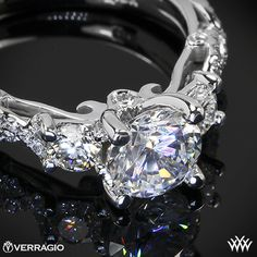 Verragio Twisted Shank 3 Stone Engagement Ring from the Verragio Insignia Collection.