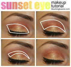 blushing basics: Sunset Eye Makeup Tutorial {Step by Step} Natural Eye Makeup, Eye Makeup Tips, Smokey Eye Makeup, Eyeshadow Makeup, Makeup Ideas, Makeup Hacks, Makeup Trends, Makeup Tutorial Step By Step, Makeup Tutorial For Beginners