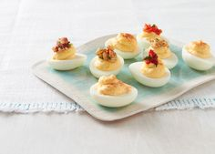 Favourite Topped Devilled Eggs with cream cheese
