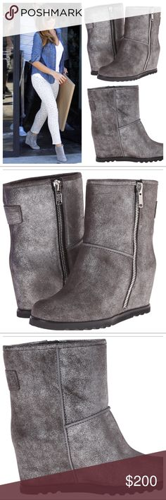 """MARC JACOBS HARPER WEDGE BOOTS LEATHER SILVER/GRAY Marc by Marc Jacobs Women's Harper Side Zip Wedge Boot. Leather. Rubber soleShaft measures approximately 6.75"""" from arch. Heel measures approximately 2""""Platform measures approximately 0.5"""". Boot opening measures approximately 12.25"""" around. 50 millimeter heel height. Size 7 Run true to size. Shimmering gray/silver. Enjoy! Marc By Marc Jacobs Shoes Ankle Boots & Booties"""