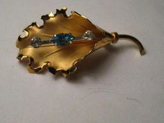 Vintage Gold Filled Floral Blue & Clear Rhinestone Brooch, signed Bond Boyd,  #BondBoyd
