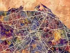 Edinburgh Street Map Digital Art by Michael Tompsett