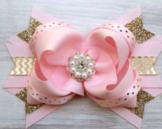 Pink & Gold First Birthday Hair Bow Headband by DLovelyBOWtique