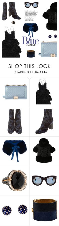 """""""Rhythm and (blacks and) blues"""" by pensivepeacock ❤ liked on Polyvore featuring Chanel, Elie Saab, Illesteva, David Webb and CÉLINE"""