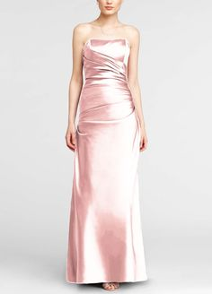 Strapless Ruched Satin Ball Gown Bridesmaid Dress - Petal (Pink), 8