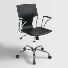 Our contemporary Black Ethan Office Chair is designed with the same luxurious features as similar chairs that sell for triple the price. Its modern appeal comes complete with a contoured vinyl seat, back and armrests; an adjustable height; tilt control for added comfort; and dual wheel carpet casters for mobility. Plus, its eye-catching chrome finish is perfect for any space that's all business.