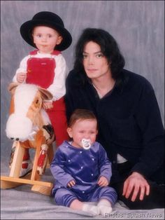 Michael Jackson with his children, Prince and Paris.