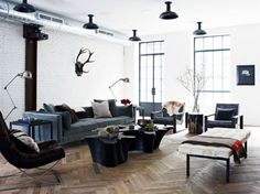Industrial Look with Dark Shades Loft   by Jenny Wolf Interiors