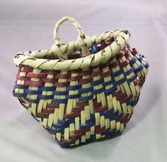 Blue and Purple Choctaw Bullnose Basket
