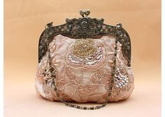 Party Women's Evening Bag With Vintage Peony Beaded and Sequins Design (CHAMPAGNE)   Sammydress.com