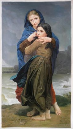 Far from Home - William Bouguereau hand-painted oil painting reproduction,Two Sisters Portraits,livi