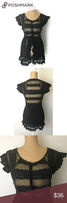 Anthropologie Top Odille Black Sheer Lace Goth Info:Anthropologie Top Odille Black Sheer Lace Sleeveless Goth Blouse   Condition:Pre-owned  Tag Size: 16. Runs small. Measurements = Anthro Size M    *** Please see measurements below  Material:Cotton/Nylon  Care: Dry clean  Flat Measurements: Bust (armpit to armpit) - 19 inches(Size 38) Waist - 18 inches Length - 27 inches   *** Any known defects (i.e. rips, stains..etc) - if present - on an item will be disclosed under item condition…