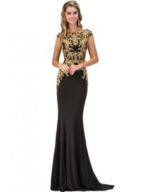 Sparkle throughout the night in this chic black and gold gown. Featuring a bateau neckline with delicate cap sleeves, th...Price - $302.00-ewQo0i8n