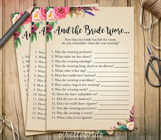 And The Bride Wore Game  Printable Boho Bohemian by ohellobride