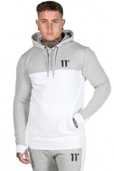 Pull Over Hoodie - Grey Marl/White
