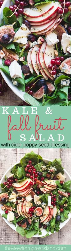 Kale and Fall Fruit Salad with Cider Poppy Seed Dressing ~ this is the Queen of fall salads, with pear, cranberries, figs, pomegranate, and grapes, all tossed in a creamy cider vinaigrette.