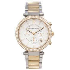 1540b1292f49 This stylish women s  Parker  chronograph watch from Michael Kors features  a two-tone stainless steel case with a matching bracelet. The silver dial  sets ...