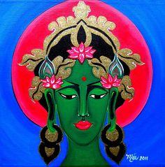 """Green Tara Tara Goddess, Goddess Art, Green Tara, Wrapped Canvas, Original Paintings, Religion, Space, Artwork, Fictional Characters"