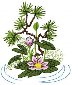 Lotus flower machine embroidery design