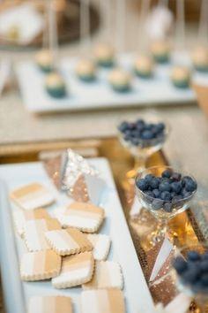 Modern Blue and Gold Wedding dessert buffet