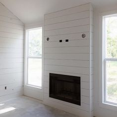 And the Shiplap continues.husband whipped this up in no time! I'd love to say we planned this but we did not. We have waited to the… Shiplap Fireplace, Bedroom Fireplace, Farmhouse Fireplace, Home Fireplace, Fireplace Remodel, Living Room With Fireplace, Fireplace Surrounds, Fireplace Design, Home Living Room