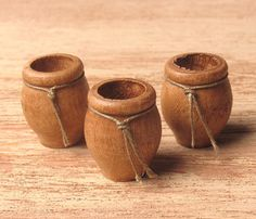 Miniature Wooden Vase Chestnut for Your Dollhouse by DinkyWorld on Etsy