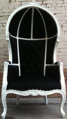Black & White Porters Chair King Queen Diva Throne Egg Hooded Chair French Glamor. $894.00, via Etsy.
