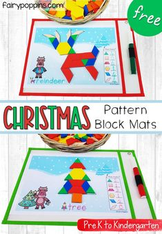 These FREE Christmas pattern block mats are a fun addition to math centers. They help kids learn about shapes, counting, Christmas vocabulary all while developing their fine motor skills! Christmas Pattern Block Mats, Christmas Blocks, Christmas Math, Christmas Activities For Kids, Preschool Christmas, Christmas Themes, Christmas Fairy, Theme Noel, Kindergarten Activities