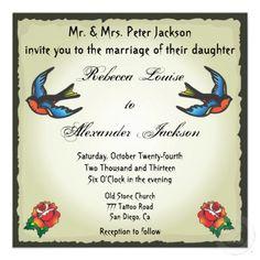 Convite bonito do casamento do tatuagem