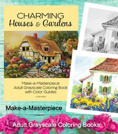 "GRAYSCALE COLORING BOOK ❤ ""Charming Houses & Gardens"" includes a Color Guide and 2 test images for each coloring page. Buy the book at Amazon.com."