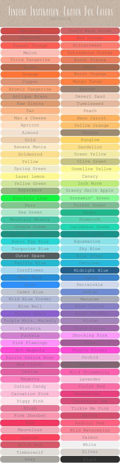 Color Inspiration: Crayon Box Colors — Love having the color names! Colour Schemes, Color Patterns, Color Combos, Color Charts, Color Names Chart, Paint Color Chart, Colour Palettes, Airbrush Tutorial, Color Draw