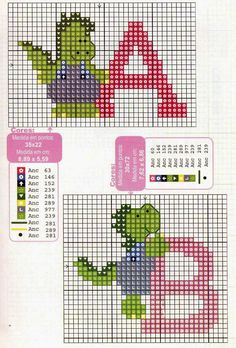 Alfabeto Con Dinosaurios Para Punto De Cruz  Oh My Alfabetos