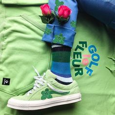 Buy and sell authentic Converse One Star Ox Tyler the Creator Golf Le Fleur Jade Lime shoes and thousands of other Converse sneakers with price data and release dates. Fashion Casual, Casual Chic Style, Urban Fashion, Mens Fashion, Fashion Outfits, Queer Fashion, Tomboy Style, Fashion Shoot, Fashion Styles