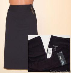 Lane Bryant Straight Skirt Women's 14 Black Back Slit Below Knee NWT #LaneBryant #Straight