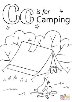 Camping Coloring Pages, Free Kids Coloring Pages, Family Coloring Pages, Summer Coloring Pages, Preschool Coloring Pages, Online Coloring Pages, Alphabet Coloring Pages, Coloring Pages To Print, Free Printable Coloring Pages