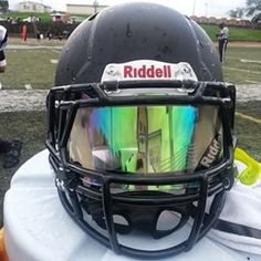 Riddell Revo Speed Football helmet with our Clear Iridium SHOC Visor. Check out our website today and get your new football eyeshield from SHOC. We have all colors of visors and 100% clear that is legal for high school football and all levels of play.