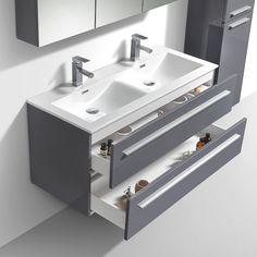Dont €3 d'éco-participation.  Ensemble meuble de salle de bain suspendu double vasque au design moderne et minimaliste et aux lignes sobres et épurées. Cet en