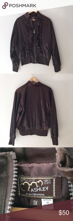 Ashley By 26 International Satin Bomber Jacket Gorgeous brown Ruffle Satin bomber jacket by Ashley by 26 International. Zip front with gold pull. Size 1X. EUC. Ashley by 26 International Jackets & Coats Utility Jackets