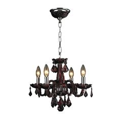 Glamorous 4-light Full Lead Cranberry Red Crystal Chrome Finish Chandelier