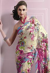 Keep the interest with this printed saree. This cream and pink brasso faux georgette saree is nicely designed with floral print, lace and patch work. Saree gives you a singular and dissimilar look. Matching blouse is available. Slight color variations are possible due to differing screen and photograph resolution.