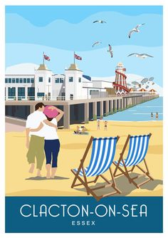 CLACTON-ON-SEA Essex. Art print Travel/Railway Poster of the beach and pier at Clacton-on-Sea. in Retro, Art Deco style design Posters Uk, Railway Posters, Poster Ads, Cool Posters, Poster Prints, Beach Posters, Retro Posters, Art Print, British Travel