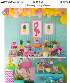 Colors and inspiration for a flamingo themed party.Festa do flamingo By Fotos porWrap boxes and put READ on them Pink Flamingo Party, Flamingo Birthday, 13th Birthday Parties, Luau Birthday, Tropical Party, Luau Party, Birthday Decorations, First Birthdays, Party Themes