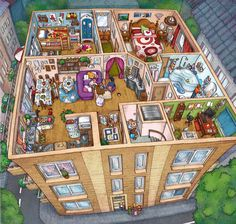 Just a backup of the illustrations I've being doing for textbooks through the years. The good ones and the fool ones. A spoonfull of my day job. Thanks for keeping an eye. Sims 4 House Design, Dream Home Design, Sims House Plans, Casas The Sims 4, Sims Building, Isometric Art, Sims 4 Build, House Illustration, Cute House