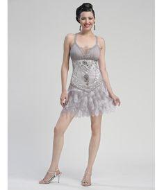 Platinum Beaded and Feather Drop Waist Flapper Dress - Unique Vintage -  Cocktail 024426e75