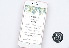 Change the Date Wedding, Wedding Postpone Template, Wedding New Date, Wedding Change the Date Template, Wedding Postpone Announcement Bachelorette Party Invitations, Bridal Shower Invitations, Electronic Save The Date, Wedding News, Wedding Templates, Digital Invitations, Text Messages, As You Like, Announcement