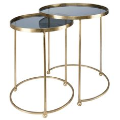 2 gold metal and glass side tables ISABEAU Nesting End Tables, Marble Round Coffee Table, Glass Shelving Unit, Accent Furniture, Metal Floor Lamps, Metal End Tables, Glass Side Tables, Coffee Table, Metal Shelves